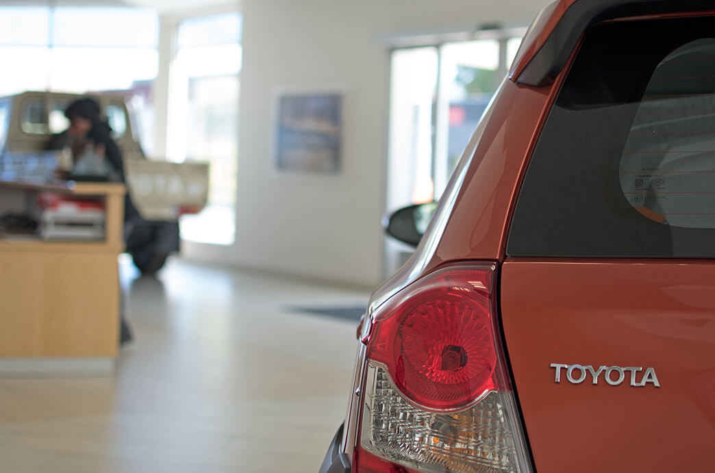 Indongo Toyota Red Car in Showroom